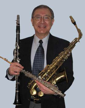Phil with clarinet flute and saxophone